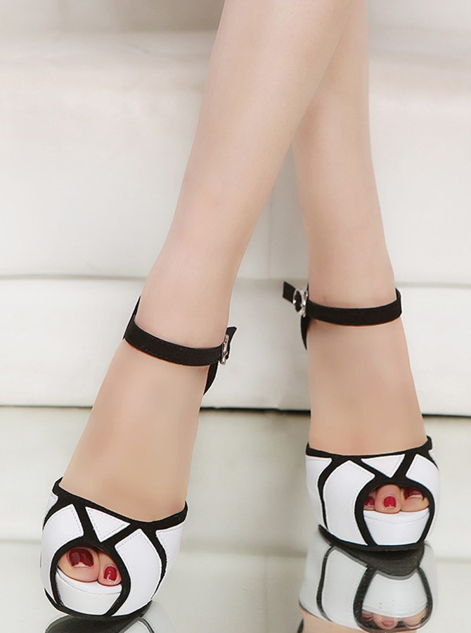White Peep Toe Patchwork Stiletto Heels