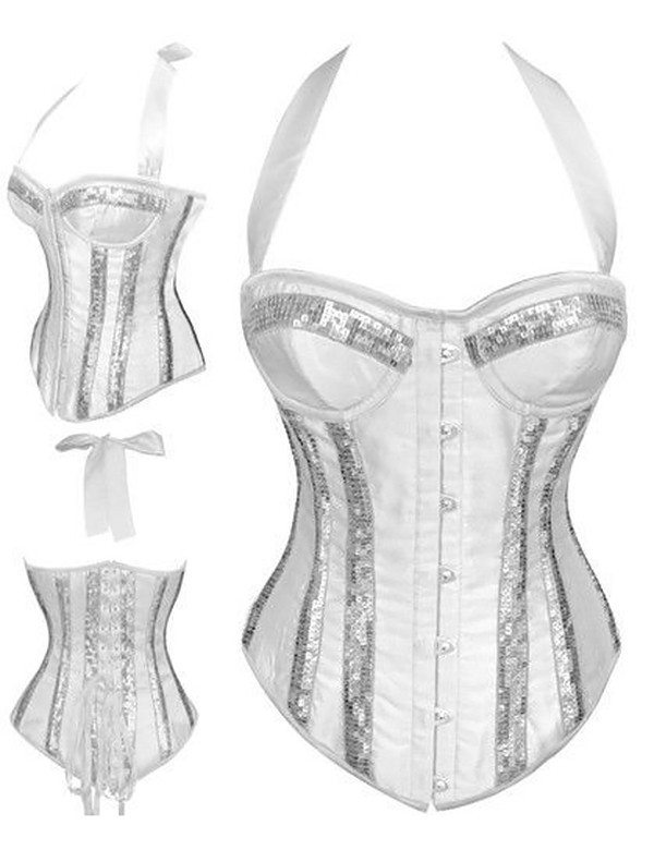 White Halter Satin Shapewear with Sequins