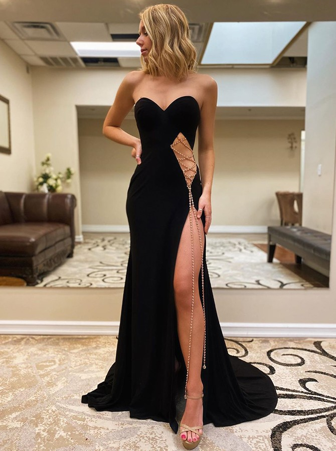Elegant Sweetheart Black Split Tight Sweep Train Prom Evening Dress
