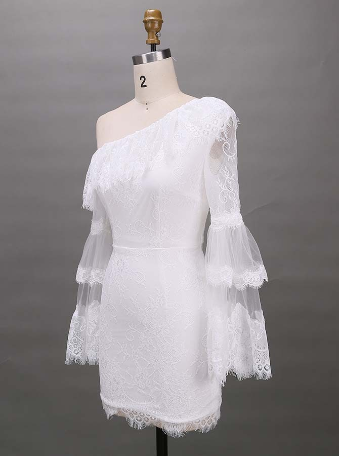 Sheath One-Shoulder Long Sleeves Short White Lace Homecoming Cocktail Dress with Ruffles