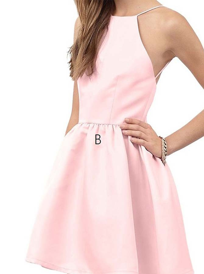A-Line Halter Backless Short Pearl Pink Satin Homecoming Dress