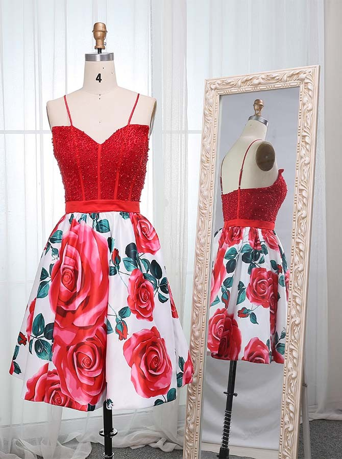 A-Line Spaghetti Straps Knee-Length Red Printed Prom Homecoming Dress with Beading