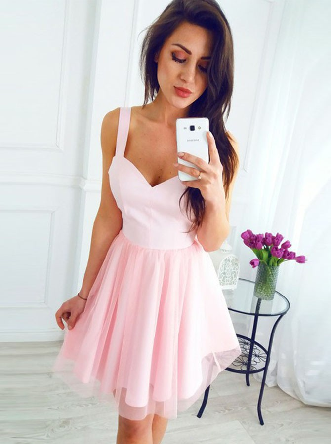 A-Line Straps Short Pink Tulle Homecoming Party Dress