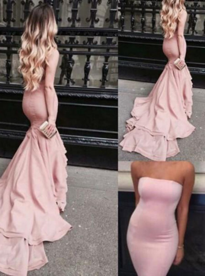 Mermaid Strapless Sweep Train Pink Elastic Satin Prom Dress