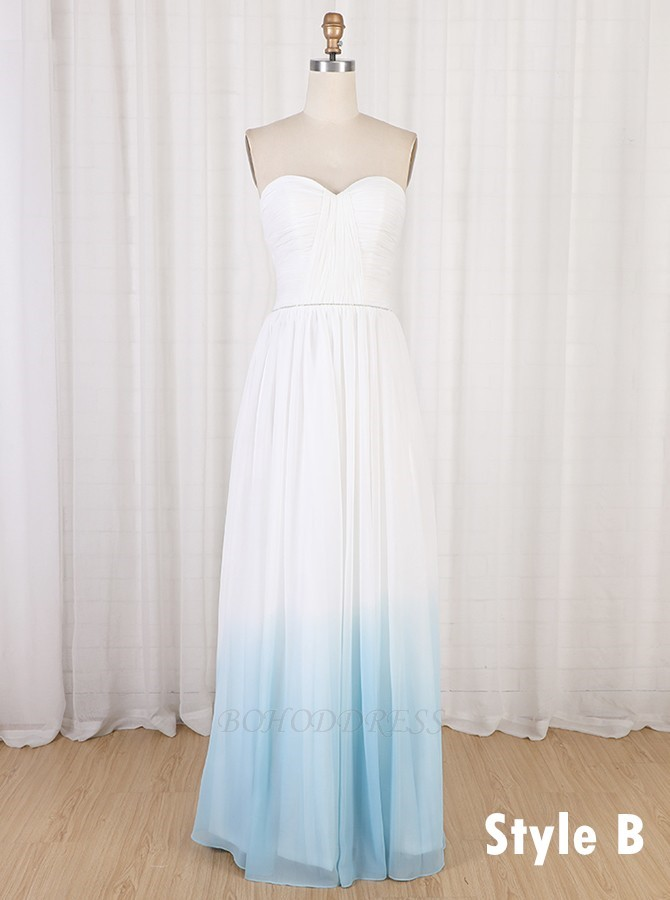 A-Line Sweetheart Long Blue Ombre Chiffon Beach Wedding Dress with Pleats