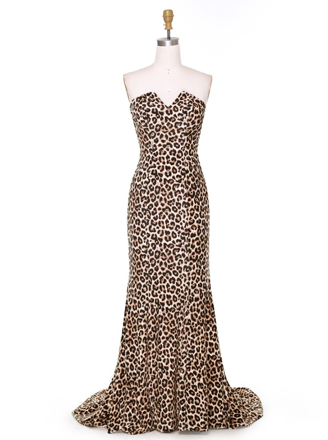 Hot Sweetheart Long Mermaid Leopard Prom Dress with Backless
