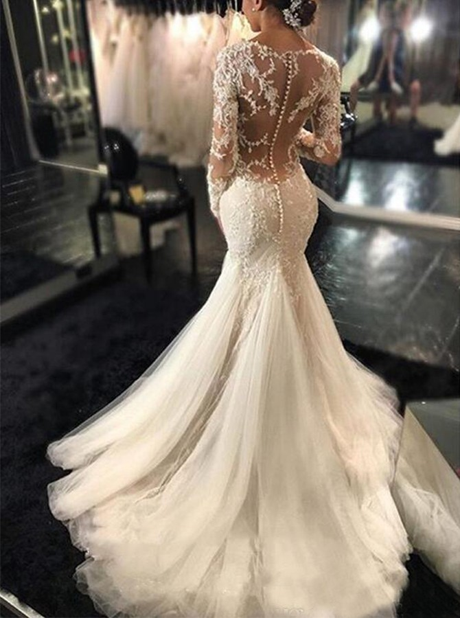 Mermaid Round Neck Long Sleeves Wedding Dress with Appliques