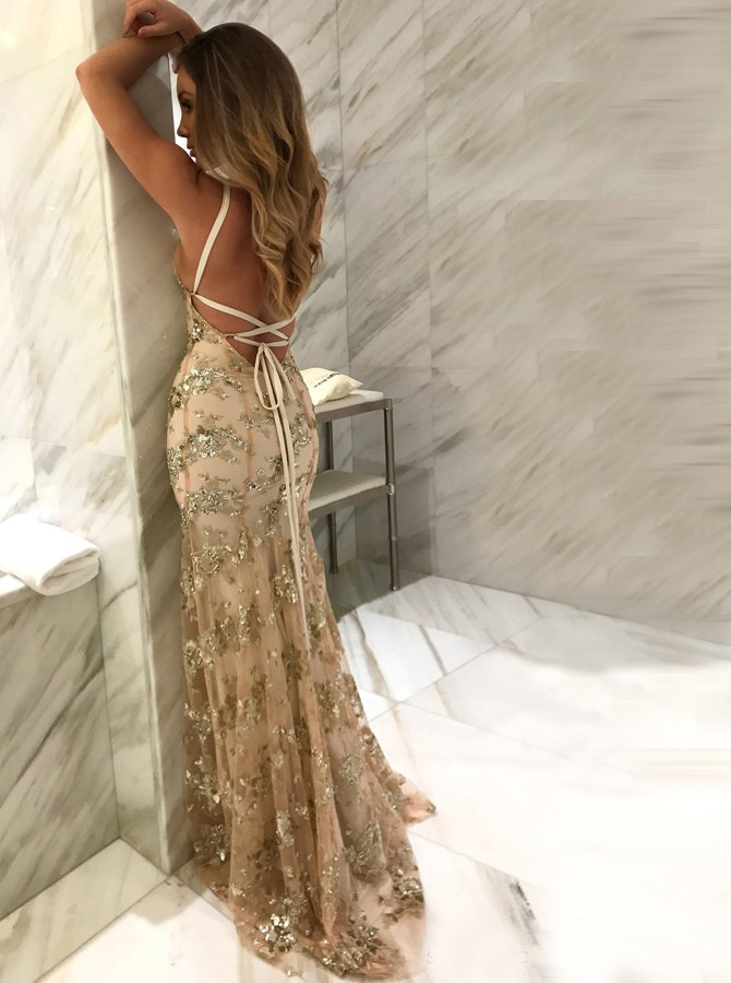 Mermaid Spaghetti Straps Floor-Length Champagne Lace Prom Dress with Sequins