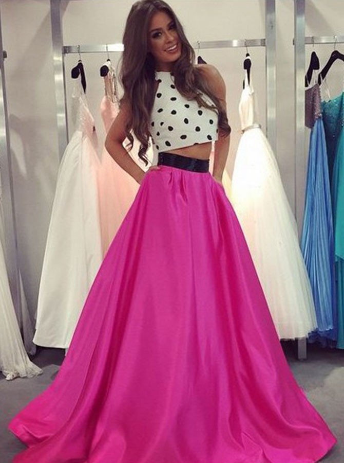 Two Piece Crew Floor-Length Fuchsia Prom Dress With Sashes