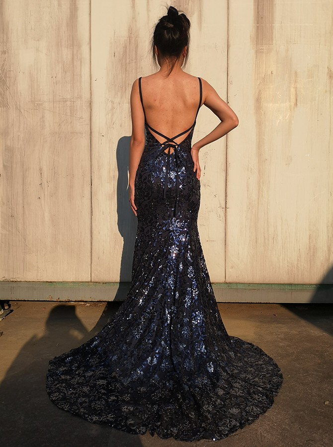Mermaid Long Spaghetti Straps Navy Blue Prom Dress Backless Evening Dress with Lace