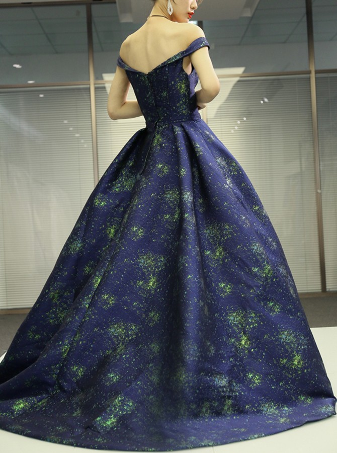 A-Line Off-the-Shoulder Long Navy Blue Prom Dress with Printed