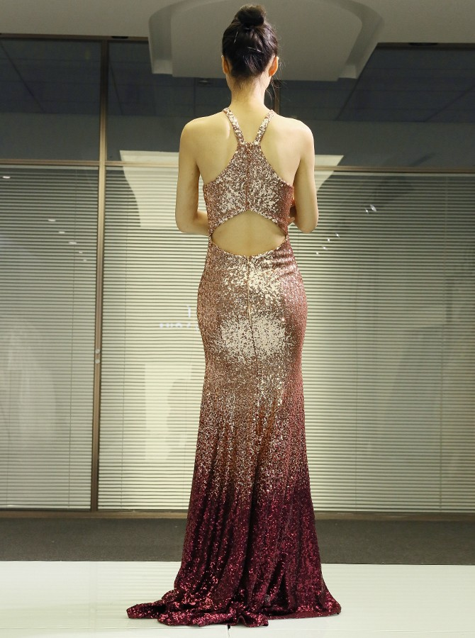 Mermaid Cross Neck Long Prom Dress Champagne Sequined Evening Dress