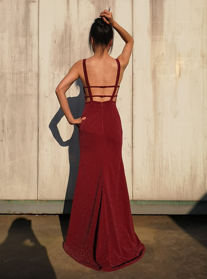 Mermaid Cross Neck Long Prom Dress Floor-Length Burgundy Evening Dress with Split