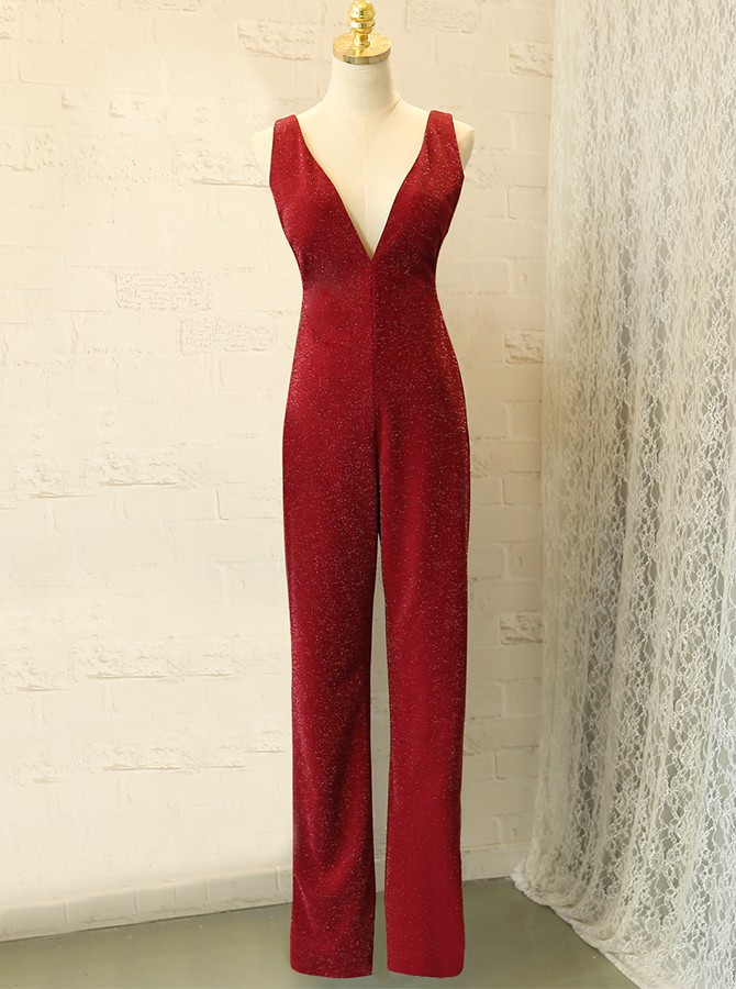 Sheath V-Neck Backless Long Burgundy Prom Jumpsuit