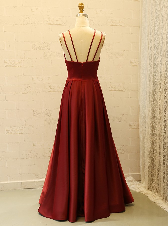 Simple Spaghetti Straps Floor-Length Dark Red A-Line Satin Prom Dress