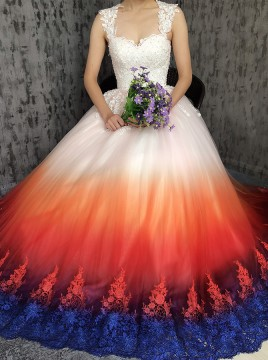 A-Line Scoop Open Back Sweep Train Ombre Wedding Dress with Appliques