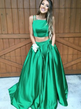 Two Piece Straps Sweep Train Hunter Satin Sleeveless Prom Dress with Pockets
