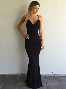 Mermaid V-Neck Criss-Cross Straps Floor-Length Black Prom Dress