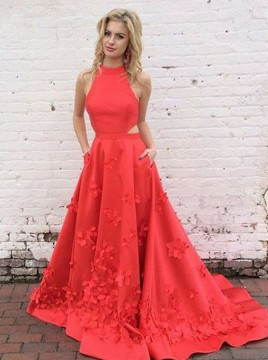 A-Line Jewel Open Back Court Train Red Satin Prom Dress with Appliques