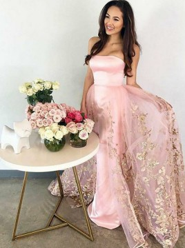 A-Line Strapless Floor-Length Pink Prom Dress with Appliques