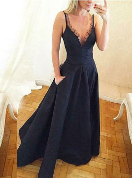 A-Line V-Neck Floor-Length Navy Blue Prom Dress with Lace Pockets
