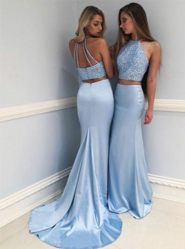 Two-Piece Round Neck Sweep Train Blue Prom Dress with Beading
