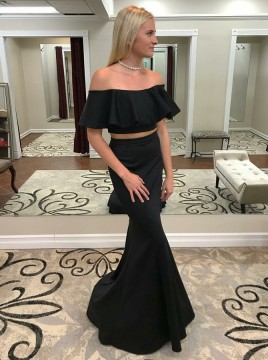 Two Piece Mermaid Off-the-Shoulder Black Prom Dress with Ruffles