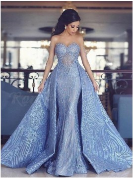 Sweetheart Detachable Blue Lace Long Wedding Dress with Appliques