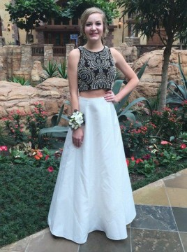 Two Piece Jewel Floor-Length White Satin Prom Dress with Beading