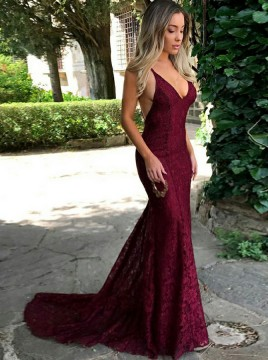 Mermaid Scoop Backless Sweep Train Burgundy Lace Prom Dress