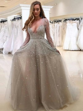 A-Line Deep V-Neck Long Sleeves Light Grey Tulle Beaded Prom Dress