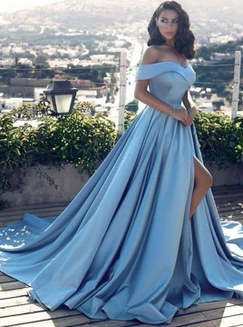 A-Line Off-the-Shoulder Court Train Blue Prom Dress with Split Pockets