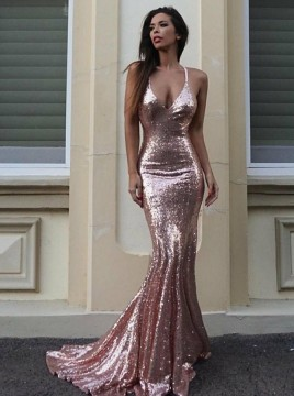 Spaghetti Straps Sequined Mermaid Rose Pink Prom Dress with Backless
