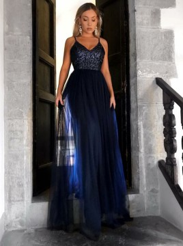 A-Line V-Neck Floor-Length Navy Blue Prom Dress with Sequins