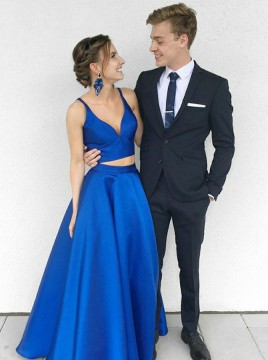 Two Piece V-Neck Floor-Length Royal Blue Satin Prom Dress with Pockets