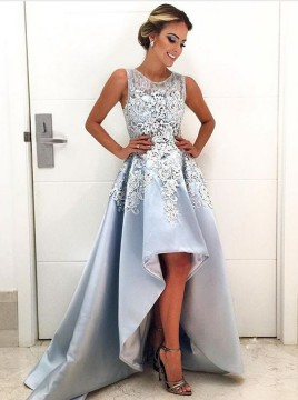 A-Line Round Neck High Low Light Blue Satin Prom Dress with Appliques