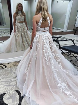 Two Piece High Neck Open Back Light Champagne Prom Dress with Appliques