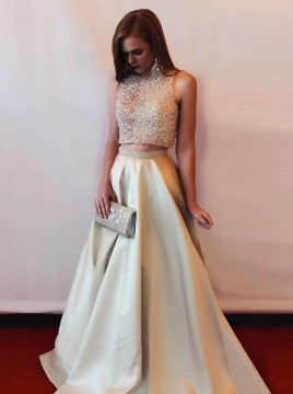 Two Piece Round Neck Long Champagne Satin Prom Dress with Beading