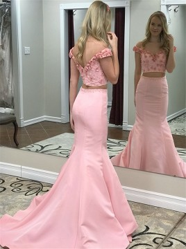 Two Piece Off-the-Shoulder Pink Satin Prom Dress with Appliques Beading