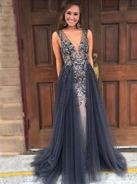 Mermaid V-Neck Sweep Train Grey Detachable Prom Dress with Beading