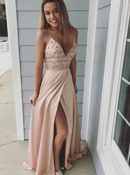 A-Line Spaghetti Straps Sweep Train Beige Prom Dress with Beading Split