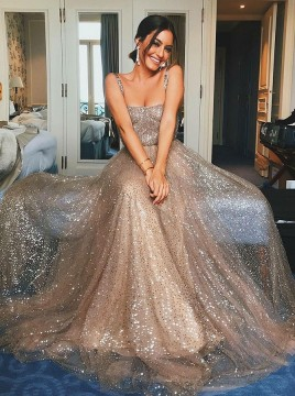 A-Line Straps Prom Dress Sweep Train Champagne Evening Dress with Sequins