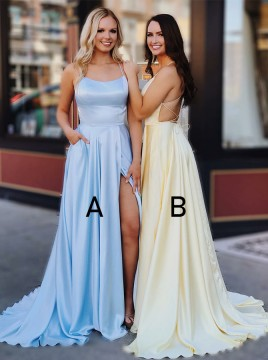Sheath Spaghetti Straps Floor-Length Sky Blue Prom Dress with Pockets Split