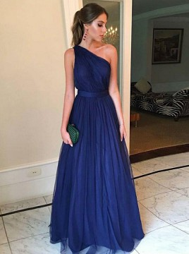 A-Line One-Shoulder Floor-Length Prom Dress Navy Blue Tulle Evening Dress