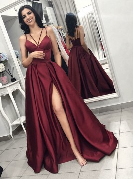 A-Line Spaghetti Straps Long Burgundy Prom Dress with Split