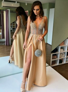 A-Line V-Neck Long Backless Prom Dress with Appliques Split