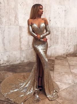 Mermaid Off-the-Shoulder Long Sleeves Prom/Evening Dress with Split