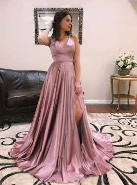 Modest V-neck Sleeveless Split Front Sweep Train Cross Back Prom Evening Dresses