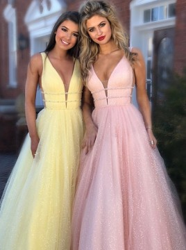 A-Line V-Neck Tulle Long Prom Dress, Evening Dress