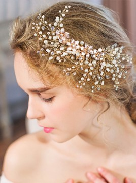 Gold Pearl Beaded Headband